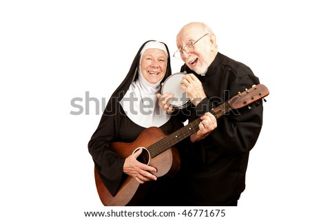 Funny priest and nun with musical instruments on white background