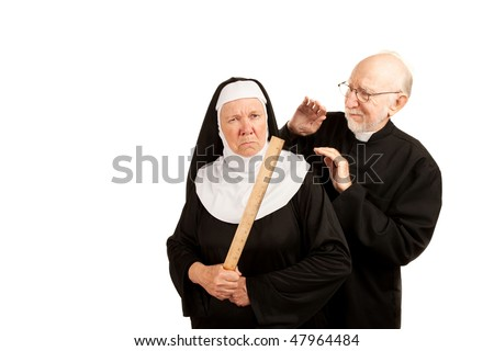 Funny priest and nun with ruler on white background - stock photo