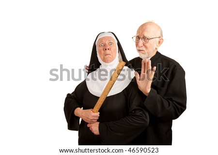 Funny priest warning about angry nun with ruler as weapon - stock photo