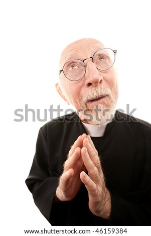 Funny Priest with Hands Folded in Prayer