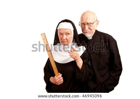 Funny priest with mean nun holding ruler - stock photo