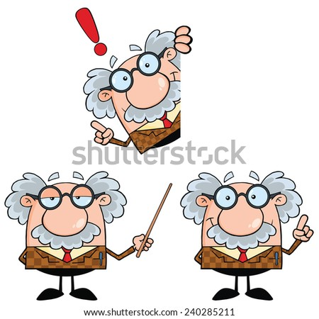 Funny Professor Cartoon Character. Raster Collection Set - stock photo