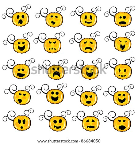 funny pumpkin faces (raster version) - stock photo