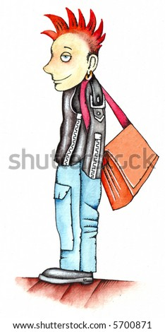 Funny punk boy. School life. Illustration by Eugene Ivanov. - stock photo