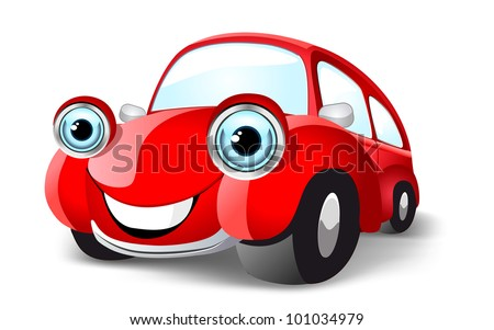 Funny red car. Vector illustration. Raster version - stock photo