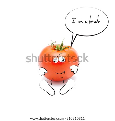 Funny  red Mr.Tomato on the white background - stock photo