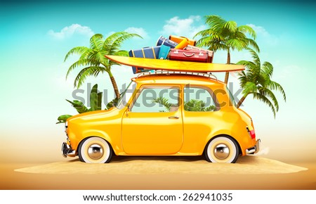 Funny retro car with surfboard and suitcases on a beach with palms behind. Unusual summer travel illustration  - stock photo