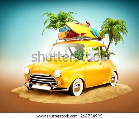 Funny retro car with surfboard and suitcases on a beach with palms. Unusual summer travel illustration  - stock photo