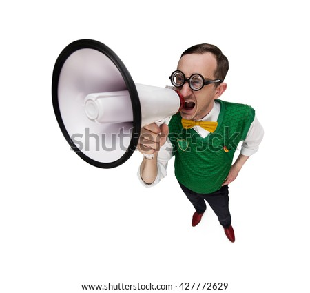 Funny retro nerd announcing good news isolated on white background with copy space - stock photo