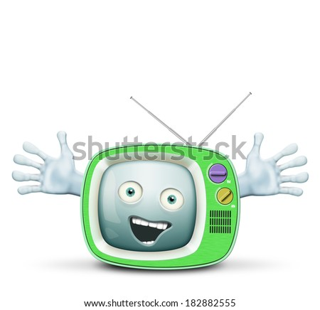 Funny retro TV, alive and smiling telly - stock photo