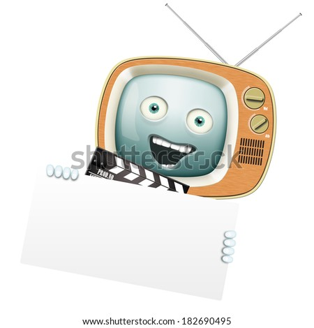 Funny retro TV and clapper, movies and series - stock photo
