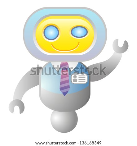 Funny robot consultant. Support icon. Raster version, vector file also included in the portfolio. - stock photo