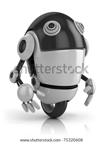 funny robot 3d illustration isolated on the white background - stock photo