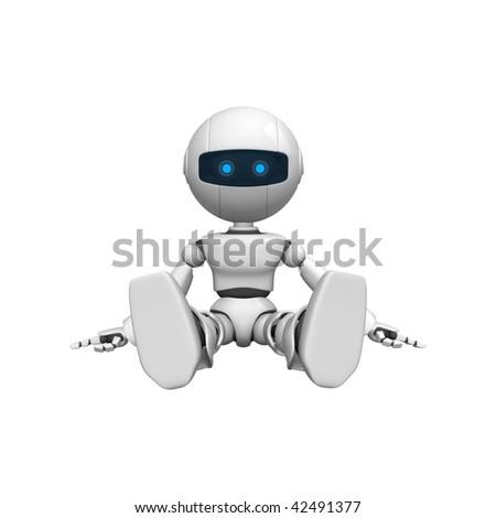 Funny robot sit - stock photo