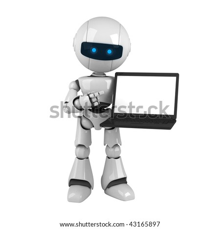 Funny robot stay with laptop - stock photo