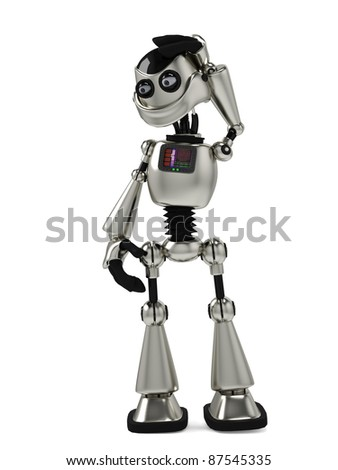 funny robot thinking about
