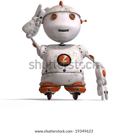 funny roboter with a lovely face and Clipping Path - stock photo