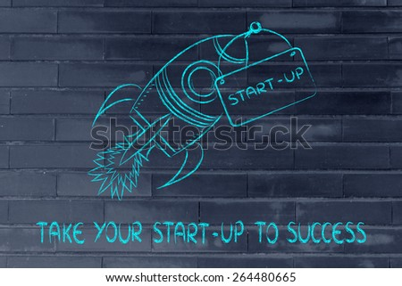 funny rocket, concept of leading a start-up business to success - stock photo