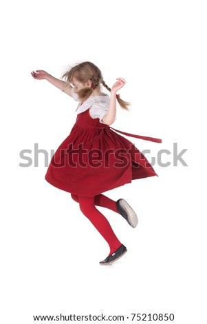Funny running girl with pigtails - stock photo