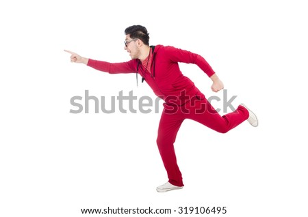 Funny running sportsman isolated on white - stock photo