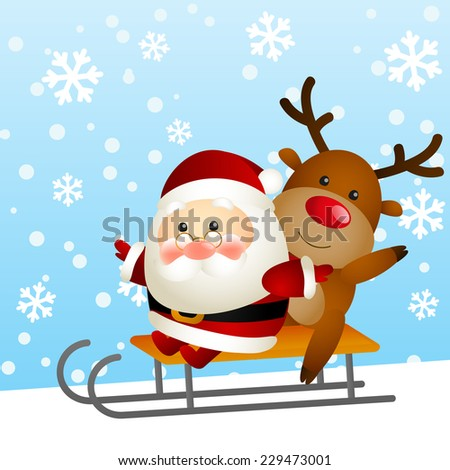 Funny Santa and deer on a sled