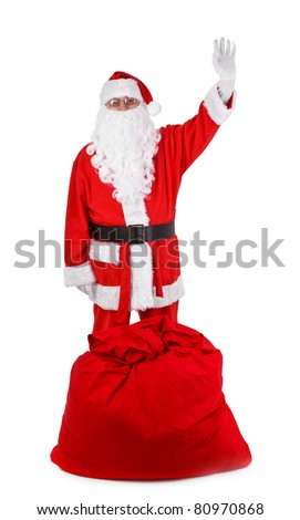 Funny santa claus isolated on white background, minimal natural shadow in front - stock photo