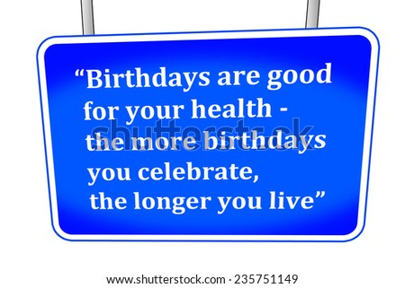 funny saying about birthdays - stock photo