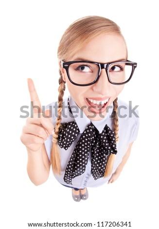Funny school girl pointing up, fish eye lens portrait - stock photo