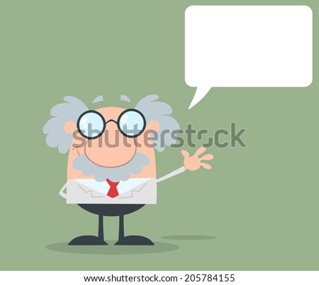 Funny Scientist Or Professor Waving With Speech Bubble Flat Design. Raster Illustration  - stock photo
