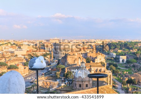 Funny seagull rests on a candlestick of the Altar of the Fatherland against the panorama of the city of Rome.Famous Roman architectural landmarks at sunset. Scenic urban landscape. Italy. Europe. - stock photo