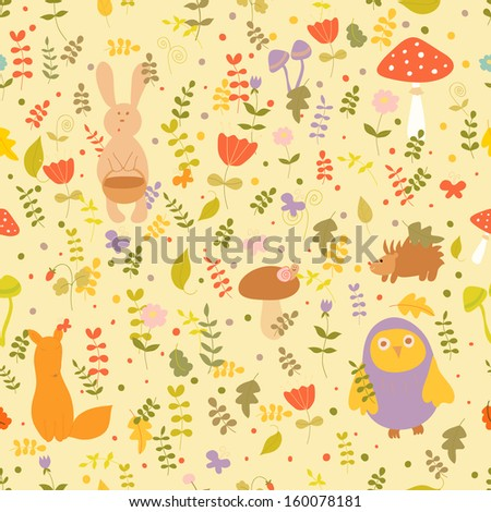 Funny seamless forest pattern. Hand drawn animals and plants on yellow background.