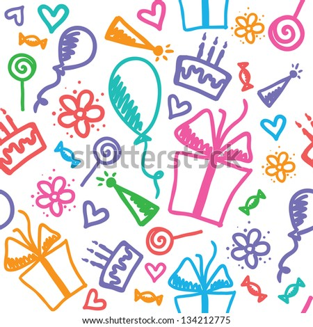 funny seamless pattern of birthday with hand drawn elements - stock photo