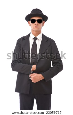 funny secret agent portrait with sunglasses - stock photo