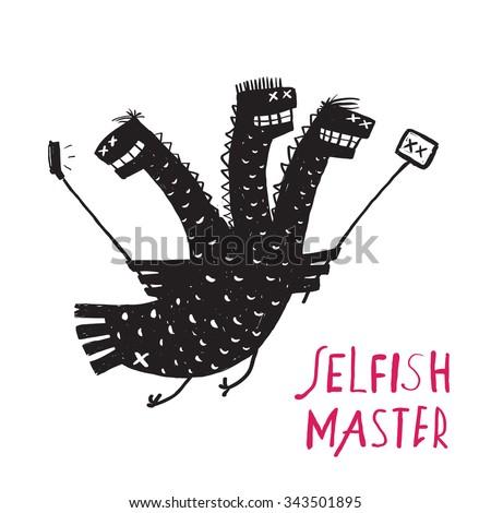 Funny Selfish Dragon Taking Selfie Stick Photo Rough Hand Drawn Print Design. A humorous egoist monster character black and white illustration. Three headed dragon photography. Raster variant. - stock photo