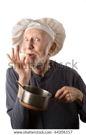 Funny senior chef with big white hat and pot of beans - stock photo