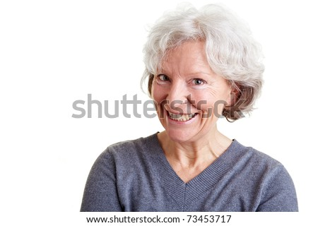 Funny senior woman with a grin on her face