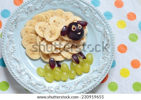 Funny sheep shape snack for kids lunch - stock photo