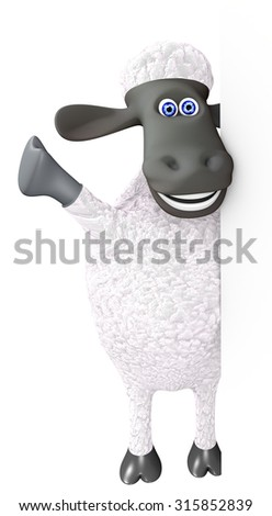 funny sheep showing a right blank space. 3d render - stock photo