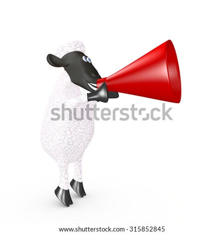 funny sheep speaking loudly into a megaphone. 3d render - stock photo