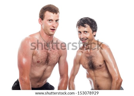 Funny shirtless men posing and showing body, isolated on white background