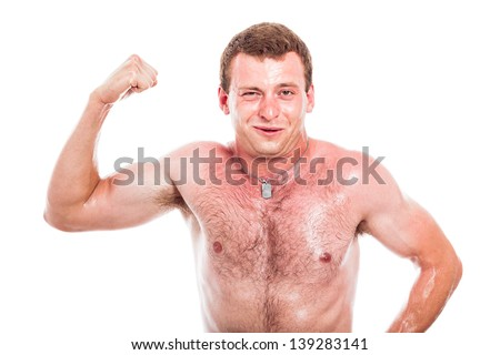 Funny shirtless sportsman showing biceps, isolated on white background - stock photo