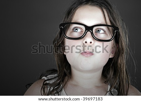 Funny Shot of a Cute Child Geek - stock photo