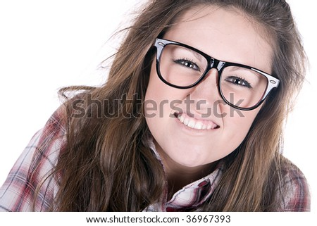 Funny Shot of an Attractive Female Geek on White Background