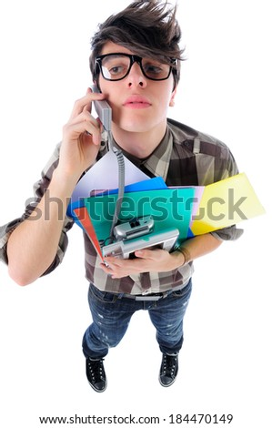 Funny shot of office worker speaking over the telephone, isolated on white - stock photo