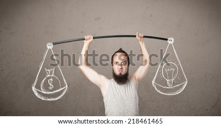 Funny skinny guy trying to get balanced  - stock photo