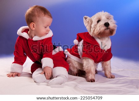Funny small baby in Santa Claus and dog in Santa Claus costume - stock photo