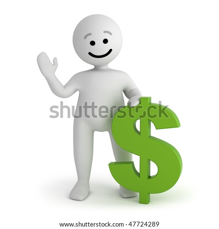 Funny smile character with green dollar sign