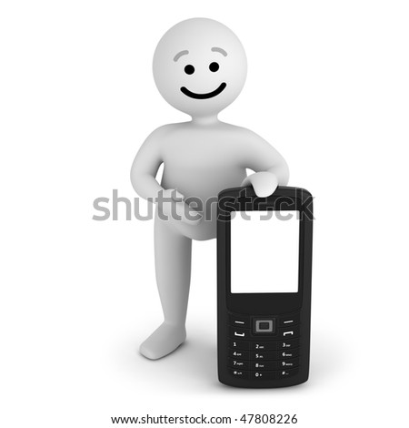 Funny smile character with mobile phone - stock photo