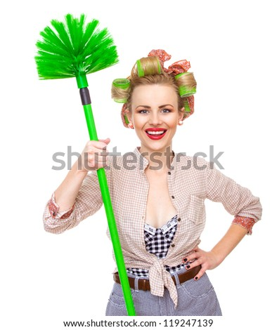 Funny smile housewife / girl with broom, isolated on white. Close up domestic woman - stock photo