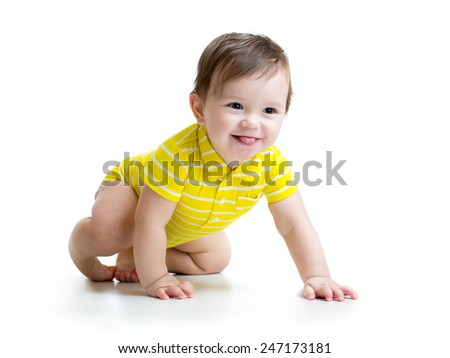 funny smiling baby boy crawling isolated on white - stock photo